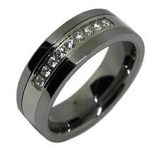 8mm Mens Tungsten Ring White CZ Stone Inlay Center Wedding Band sizes 10-12