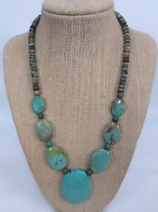 Beautiful  Jay King DTR mine find  sterling 925 Oval turquoise beads necklace