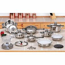 28 Piece Stainless Steel Cookware Set Kitchen Pots Pans Lids Non Stick Cooking