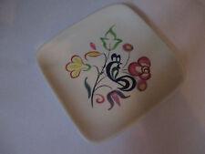 Poole Pottery Small Square Trinket Plate Purple Floral & Cockerel Design 50 60's