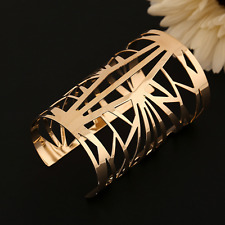 Vinatge Men Women Gold Punk Bangle Open Cuff Irregular Hollow Bracelet Jewelry
