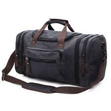 Mens Travel Luggage Bag Canvas Leather Gym Sports Overnight Duffel Handbag Black