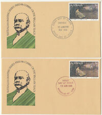 Stamps Australia 1981 high value $2 painting in 2 prints on official pair FDC's