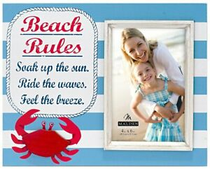 """NEW Malden """"Beach Rules"""" 4x6 Picture Frame - Blue/White Stripes & Red Crab"""