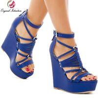 Super High Heels Sandals Women Shoes Platform Wedges Blue Ladies Sandals Shoes