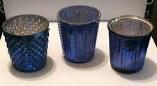 Blue Mercury Glass votive candle holders