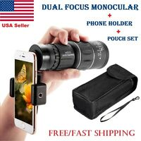 16×52 Zoom Dual Focus Monocular Telescope 66M/8000M With Phone Holder Pouch Set