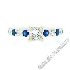 Blue Nile Platinum GIA Princess Diamond Solitaire Round Sapphire Engagement Ring