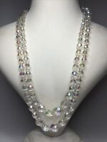 1950s 2 Strand Necklace Vintage Glass Aurora Borealis Beads Adjustable Retro Old