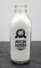Vintage Avon Dairies Stratford, Ontario Square Quart/Litre ACL Milk Bottle