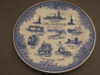 """Oklahoma Decorative Plate Attractions Pictured  9"""" Diameter VGC Vintage"""