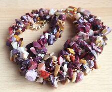 Chip de piedras preciosas de Mookaite granos + Marfil Semilla Cuentas Kumihimo Trenzado Collar