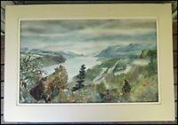 Vintage Katy Grant Hanson Watercolor Oregon Columbia River Landscape