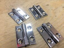 """2 PAIRS 1"""" 25mm POLISHED CHROME ON BRASS BUTT HINGES SMALL BOX DOOR"""
