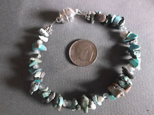 """Secure Magnetic Clasp 7"""" Bracelet Turquoise Chip Blue Apatite Pearl Gemstone"""