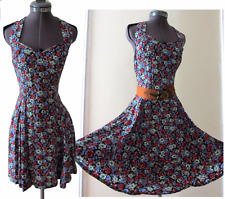 Vintage 80s 90s Pin-Up Grunge Revival Ditsy Floral Sweetheart open back dress S