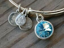 Alex and Ani Charms Blue CRYSTAL CHARM bangle bracelet silver plated.