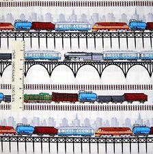 Kids Fabric - Antique Train Stripe on Off White- Timeless Treasures YARD