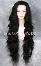 "HEAT OK Soft Off black Lace Front Wig Wavy EXTRA long 32""   JSTA 1B"