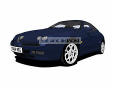 ALFA ROMEO GTV  CAR ART PRINT (SIZE A4). CHOOSE COLOUR, ADD REG DETAILS