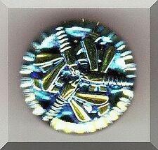 CZECH GLASS BUTTON - Triple Dragonfly Black Blue AB