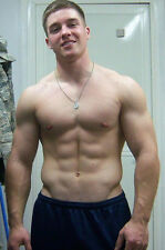 Shirtless Male Military Air Force Boy Muscular Masculine Guy Abs PHOTO 4X6 P1842