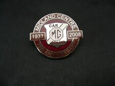 MG CAR CLUB MIDLAND CENTRE 75TH ANNIVERSARY LAPEL PIN 1933 -2008 MMM A B C T Z Y