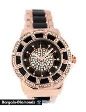 ladies rose gold tone black ceramic-look designer party watch metal bracelet