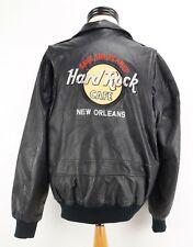Men's Vintage Hard Rock Cafe New Orleans Black Leather Bomber BikerJacket Small