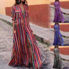 Fashion Women Boho Long Dress Button Striped Maxi Summer Loose Shirt Dress SH