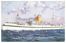 Antique colour printed postcard HMHS Letitia of Donaldson Line ocean liner ship