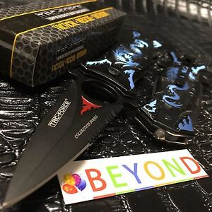 Tac Force Half Serrated Blue Dragon Handle Spring Assisted Pocketknife