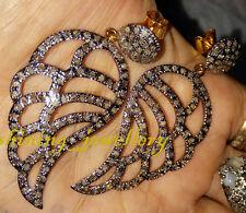 Antique Look 3.50Ct Rosecut Diamond 925 Sterling Silver Leaf Earring