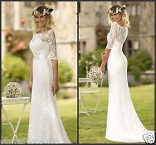 NEW Mermaid White/Ivory Lace Half sleeve Wedding Dress Bridal Gown Custom Size