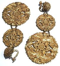 MIRIAM HASKELL HUGE REPOUSSE MEDALLION DANGLE SCREW BACK VINTAGE BRASS EARRINGS