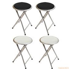 Pack of 2X Round Folding Bar Stool Chair Kitchen Breakfast Soft Seat Black White