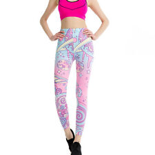 Pink Pastel universe leggings - 8 - 12 UK, cute kawaii blue, stretchy printed