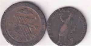 2 UK CONDER TRADE TOKENS 1791 LEEDS HALFPENNY,1812 SHEFFIELD PENNY  R23
