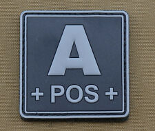 "PVC / Rubber Patch ""Blood type A POS + Black"" with VELCRO® brand hook"