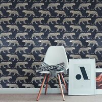 Modern Leopard wallpaper charcoal gray black gold metallic 3D wallcoverings roll
