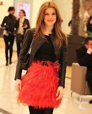 ZARA RED ORANGE OSTRICH FEATHER  SKIRT BLOGGERS SIZE M MEDIUM