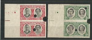 SOUTHERN RHODESIA 1947 ROYAL VISIT  ½ d, 1d IMPERF PROOF PAIRS ON GUMMED PAPER