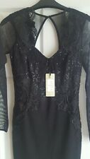 BNWT Lipsy Long Sleeve Black Lace Artwork Bodycon Dress Size 6