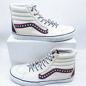 VANS Old Skool SK8-Hi Shoes USA Stars Patriotic Leather Mens Sz 6.5 / WMNS Sz 8
