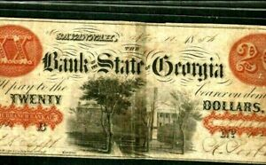 "$20 ""STATE OF GEORGIA"" (SAVANNAH) 1800'S RARE!!! $20 ""STATE OF GEORGIA"" CRISPY!!"