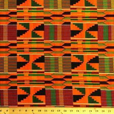 Kente African Print Fabric 100% Cotton 44'' wide sold by the yard (19006-2)