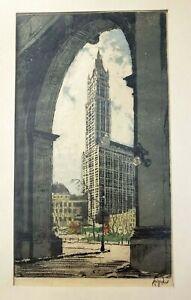 SCARCE Hans Figura WOOLWORTH BUILDING New York City ORIGINAL ETCHING 9 3/8 x 5.5
