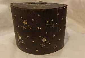 Unusual Antique Black Japanese Lacquer Box Inlaid With Mother Of Pearl