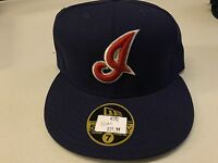 """NWT CLEVELAND INDIANS """"I"""" RETRO OLD STYLE FLAT BRIM NEW ERA 5950 FITTED HAT"""