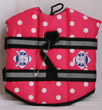 Paws Aboard Dog Life Jacket XS xsmall pink polka dot 7-15 lbs new missing tag